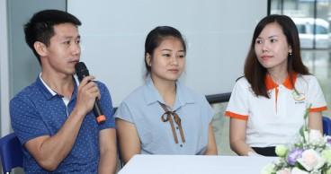 Anh Nguyễn Văn Miên và chị Lê Thị Hoài Phương chia sẻ cảm xúc